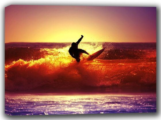 Surfing a Wave at Sunset. Surf/Surfer Canvas. Sizes: A4/A3/A2/A1 (002264)